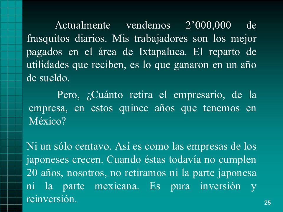 25 Actualmente vendemos 2000,000 de frasquitos diarios. Mis trabajadores son los mejor pagados en el área de Ixtapaluca. El reparto de utilidades que