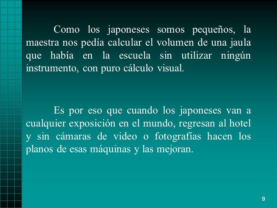 9 Como los japoneses somos pequeños, la maestra nos pedía calcular el volumen de una jaula que había en la escuela sin utilizar ningún instrumento, co