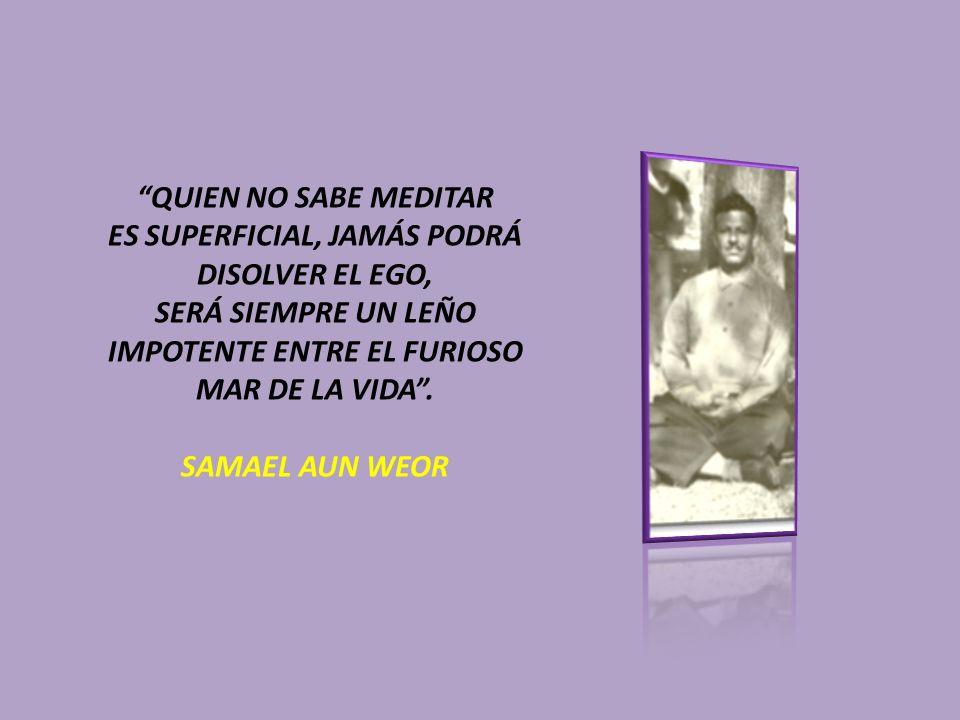QUIEN NO SABE MEDITAR ES SUPERFICIAL, JAMÁS PODRÁ DISOLVER EL EGO, SERÁ SIEMPRE UN LEÑO IMPOTENTE ENTRE EL FURIOSO MAR DE LA VIDA. SAMAEL AUN WEOR