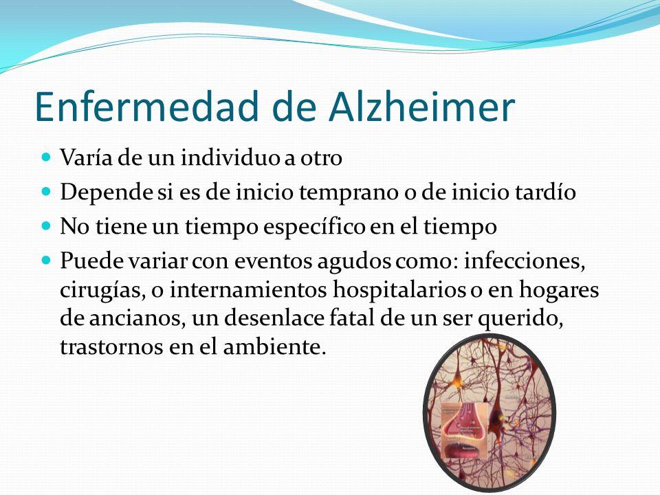 Enfermedad de Alzheimer Varía de un individuo a otro Depende si es de inicio temprano o de inicio tardío No tiene un tiempo específico en el tiempo Pu