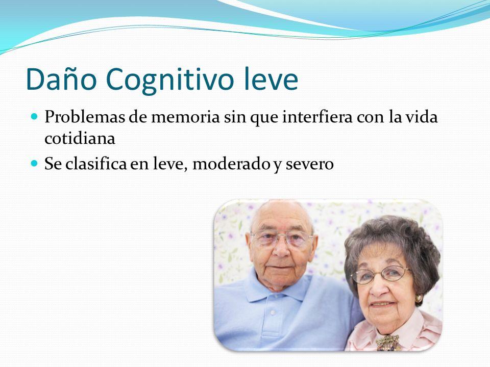 Daño Cognitivo leve Problemas de memoria sin que interfiera con la vida cotidiana Se clasifica en leve, moderado y severo