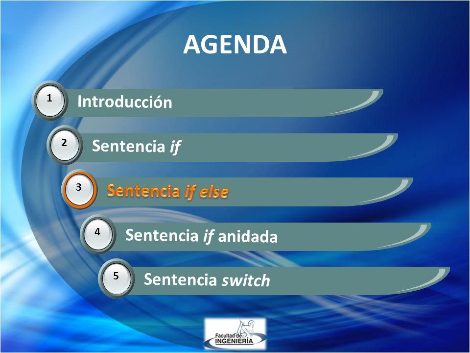 AGENDA 1 Introducción 2 Sentencia if 3 Sentencia if else 3 4 Sentencia if anidada 5 Sentencia switch