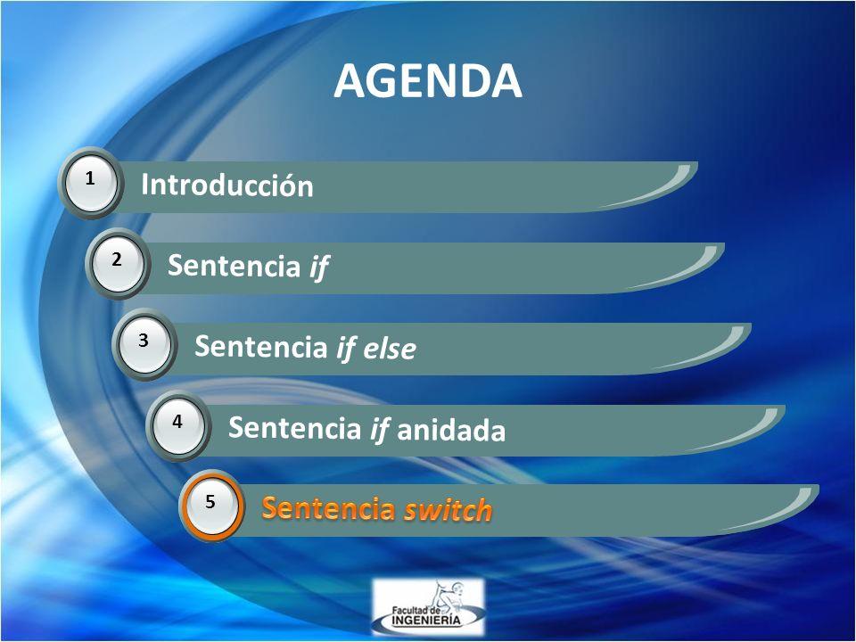 AGENDA 1 Introducción 2 Sentencia if 3 Sentencia if else 4 Sentencia if anidada 5 Sentencia switch 5