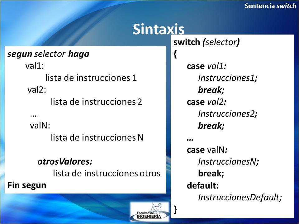 Sintaxis switch (selector) { case val1: Instrucciones1; break; case val2: Instrucciones2; break; … case valN: InstruccionesN; break; default: InstruccionesDefault; } segun selector haga val1: lista de instrucciones 1 val2: lista de instrucciones 2 ….