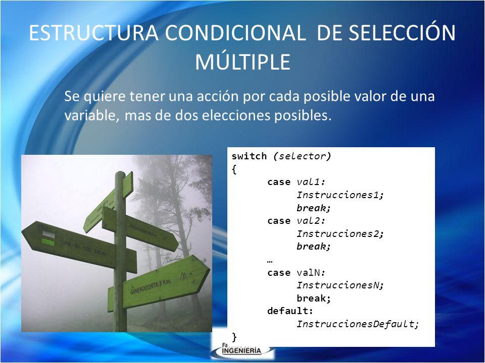 ESTRUCTURA CONDICIONAL DE SELECCIÓN MÚLTIPLE Se quiere tener una acción por cada posible valor de una variable, mas de dos elecciones posibles. switch