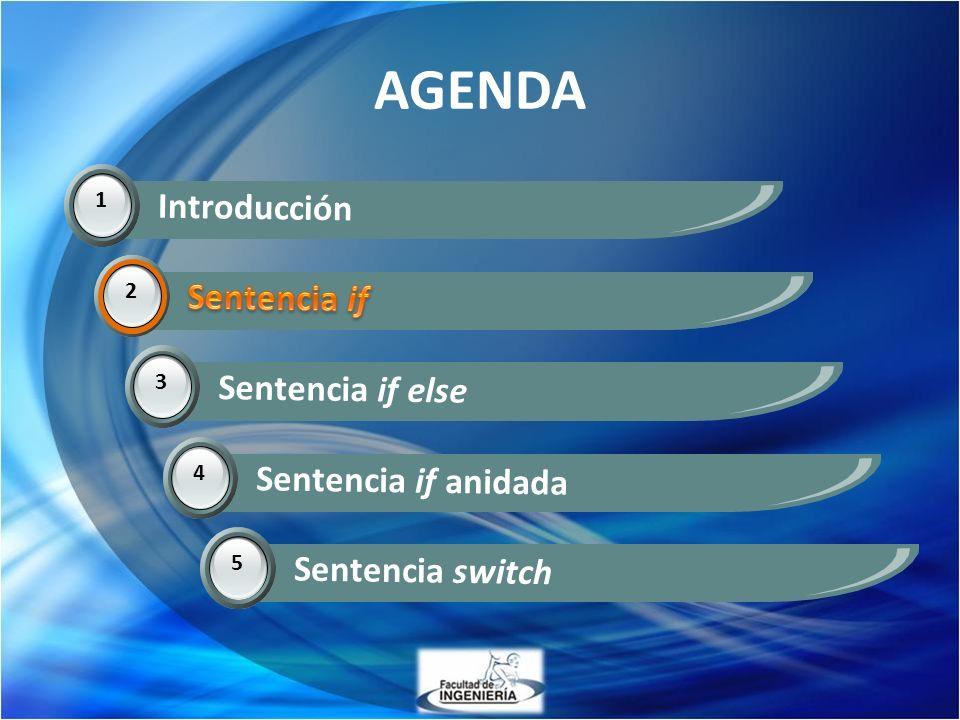 AGENDA 1 Introducción 2 Sentencia if 3 Sentencia if else 2 4 Sentencia if anidada 5 Sentencia switch