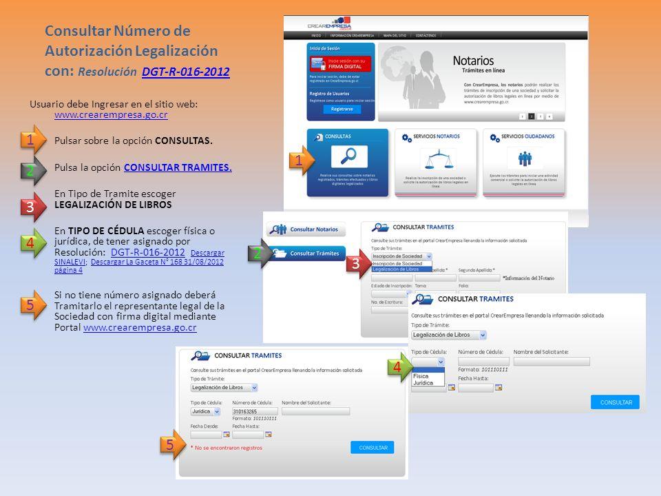 Consultar Número de Autorización Legalización con: Resolución DGT-R-016-2012DGT-R-016-2012 Usuario debe Ingresar en el sitio web: www.crearempresa.go.