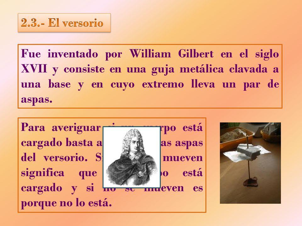 Fue inventado por William Gilbert en el siglo XVII y consiste en una guja metálica clavada a una base y en cuyo extremo lleva un par de aspas. Para av
