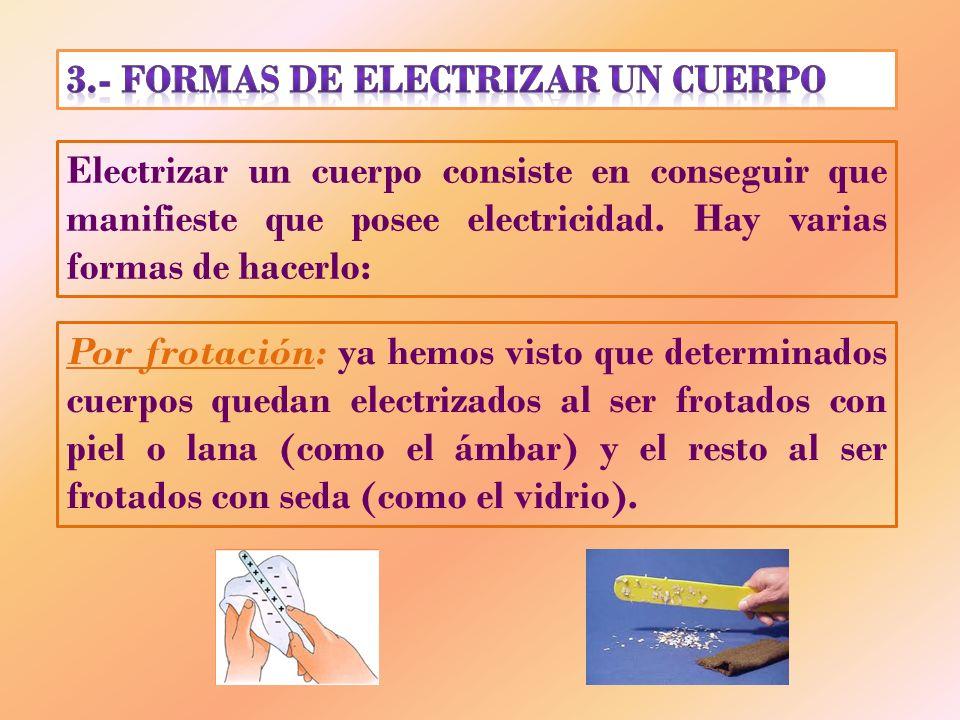 Electrizar un cuerpo consiste en conseguir que manifieste que posee electricidad. Hay varias formas de hacerlo: Por frotación: ya hemos visto que dete