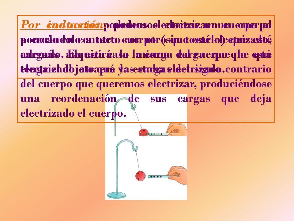 Por contacto: podemos electrizar un cuerpo al ponerlo en contacto con otro que esté electrizado, además adquirirá la misma carga que la que tenga el o