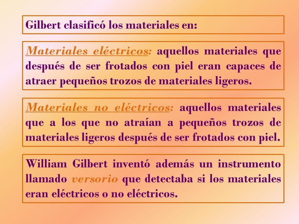 Gilbert clasificó los materiales en: Materiales eléctricos: aquellos materiales que después de ser frotados con piel eran capaces de atraer pequeños t