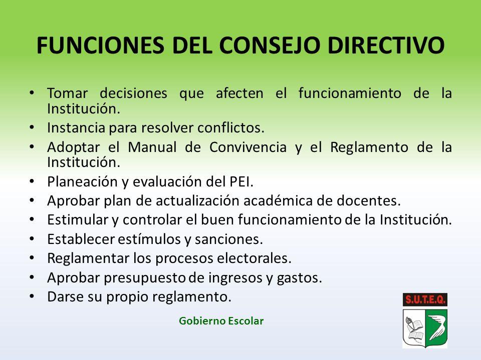 FUNCIONES DEL CONSEJO DIRECTIVO Tomar decisiones que afecten el funcionamiento de la Institución. Instancia para resolver conflictos. Adoptar el Manua