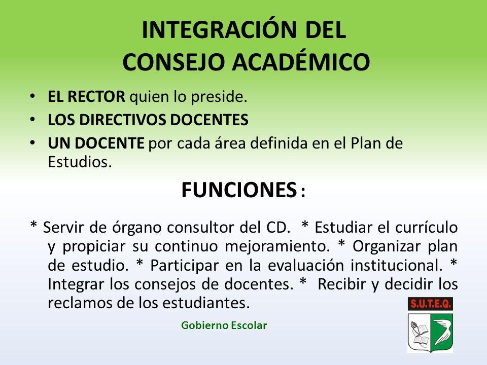 INTEGRACIÓN DEL CONSEJO ACADÉMICO EL RECTOR quien lo preside. LOS DIRECTIVOS DOCENTES UN DOCENTE por cada área definida en el Plan de Estudios. FUNCIO