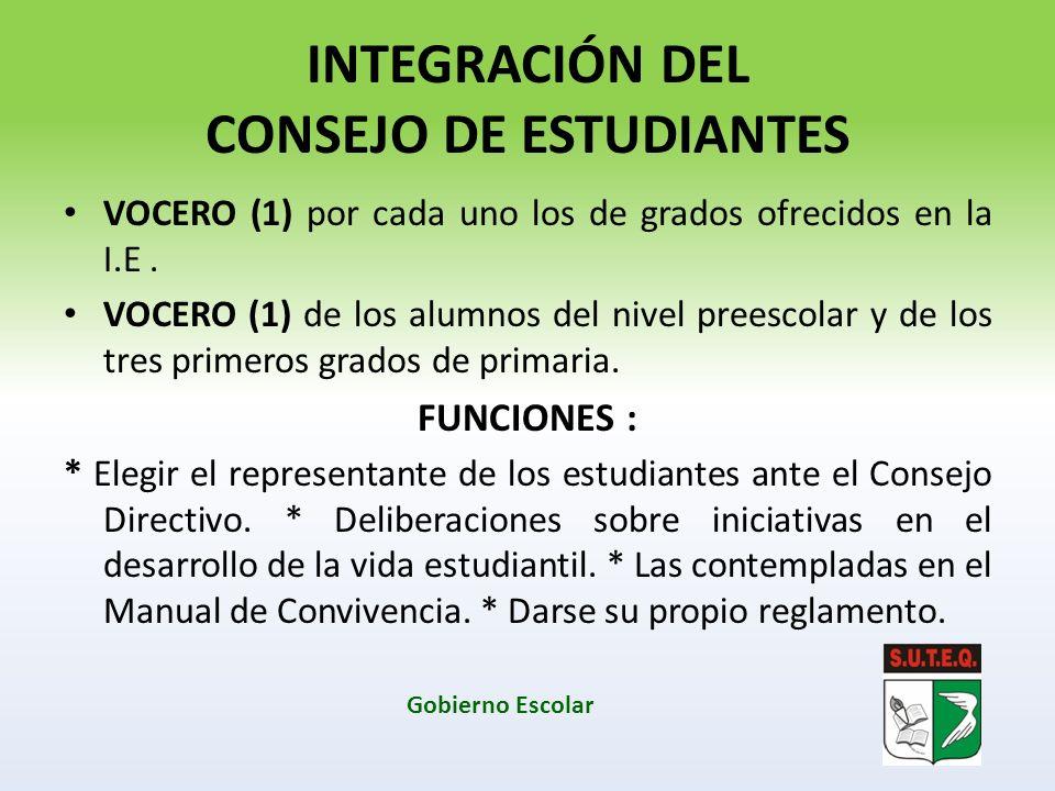 INTEGRACIÓN DEL CONSEJO DE ESTUDIANTES VOCERO (1) por cada uno los de grados ofrecidos en la I.E. VOCERO (1) de los alumnos del nivel preescolar y de