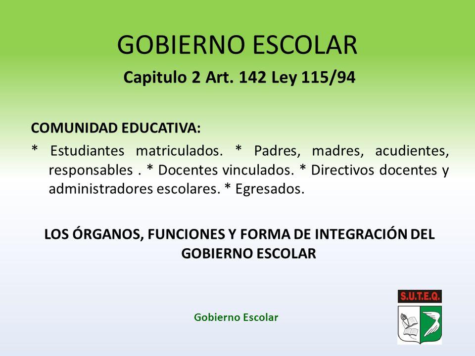GOBIERNO ESCOLAR Capitulo 2 Art. 142 Ley 115/94 COMUNIDAD EDUCATIVA: * Estudiantes matriculados. * Padres, madres, acudientes, responsables. * Docente