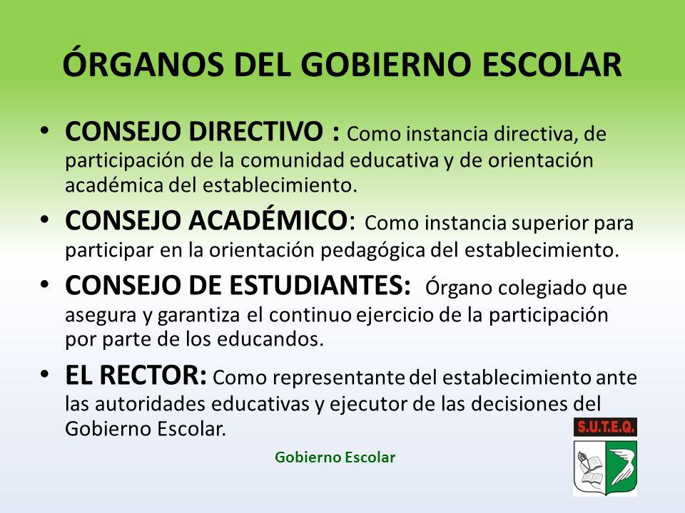 ÓRGANOS DEL GOBIERNO ESCOLAR CONSEJO DIRECTIVO : Como instancia directiva, de participación de la comunidad educativa y de orientación académica del e