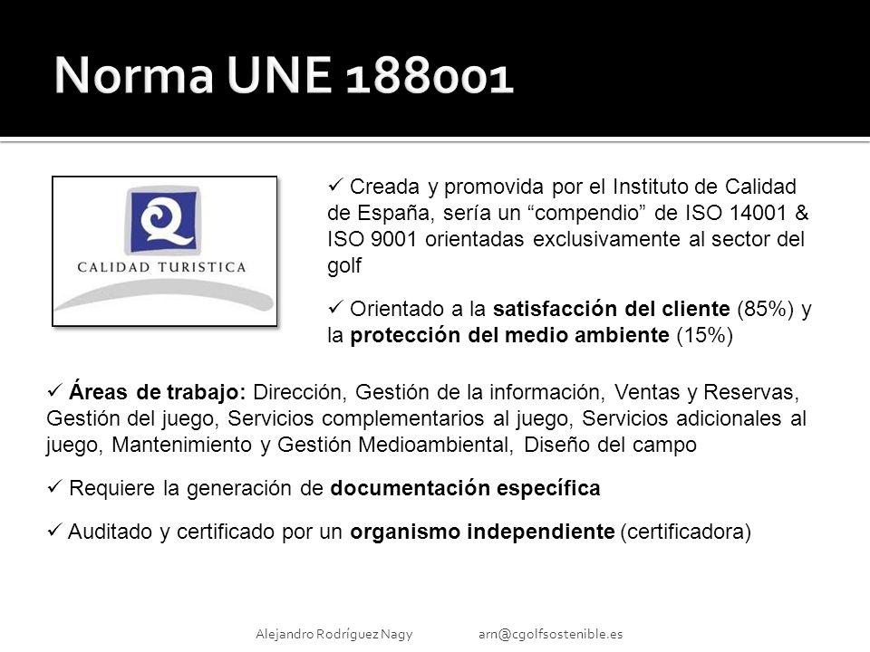 Alejandro Rodríguez Nagy arn@cgolfsostenible.es Creada y promovida por el Instituto de Calidad de España, sería un compendio de ISO 14001 & ISO 9001 orientadas exclusivamente al sector del golf Orientado a la satisfacción del cliente (85%) y la protección del medio ambiente (15%) Áreas de trabajo: Dirección, Gestión de la información, Ventas y Reservas, Gestión del juego, Servicios complementarios al juego, Servicios adicionales al juego, Mantenimiento y Gestión Medioambiental, Diseño del campo Requiere la generación de documentación específica Auditado y certificado por un organismo independiente (certificadora)