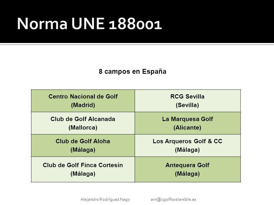Alejandro Rodríguez Nagy arn@cgolfsostenible.es Centro Nacional de Golf (Madrid) RCG Sevilla (Sevilla) Club de Golf Alcanada (Mallorca) La Marquesa Golf (Alicante) Club de Golf Aloha (Málaga) Los Arqueros Golf & CC (Málaga) Club de Golf Finca Cortesín (Málaga) Antequera Golf (Málaga) 8 campos en España