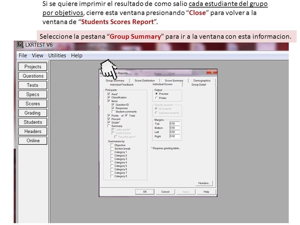 Seleccione la pestana Group Summary para ir a la ventana con esta informacion.