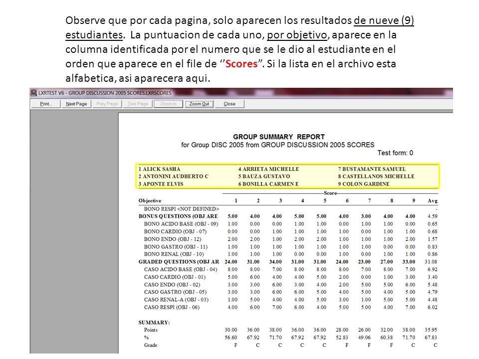 Observe que por cada pagina, solo aparecen los resultados de nueve (9) estudiantes.