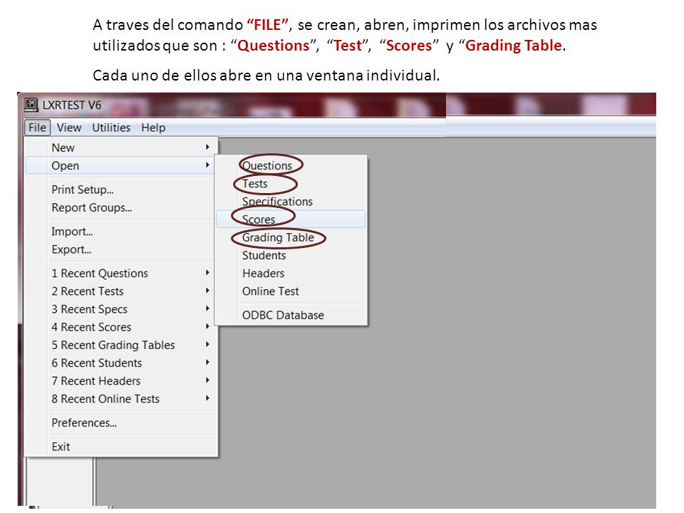 Otra informacion util que se puede imprimir y exportar en la subdivision Scores Reports es sobre la estadistica del examen.