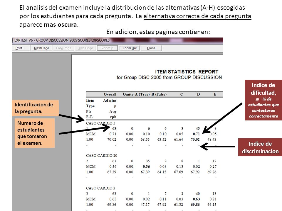El analisis del examen incluye la distribucion de las alternativas (A-H) escogidas por los estudiantes para cada pregunta.