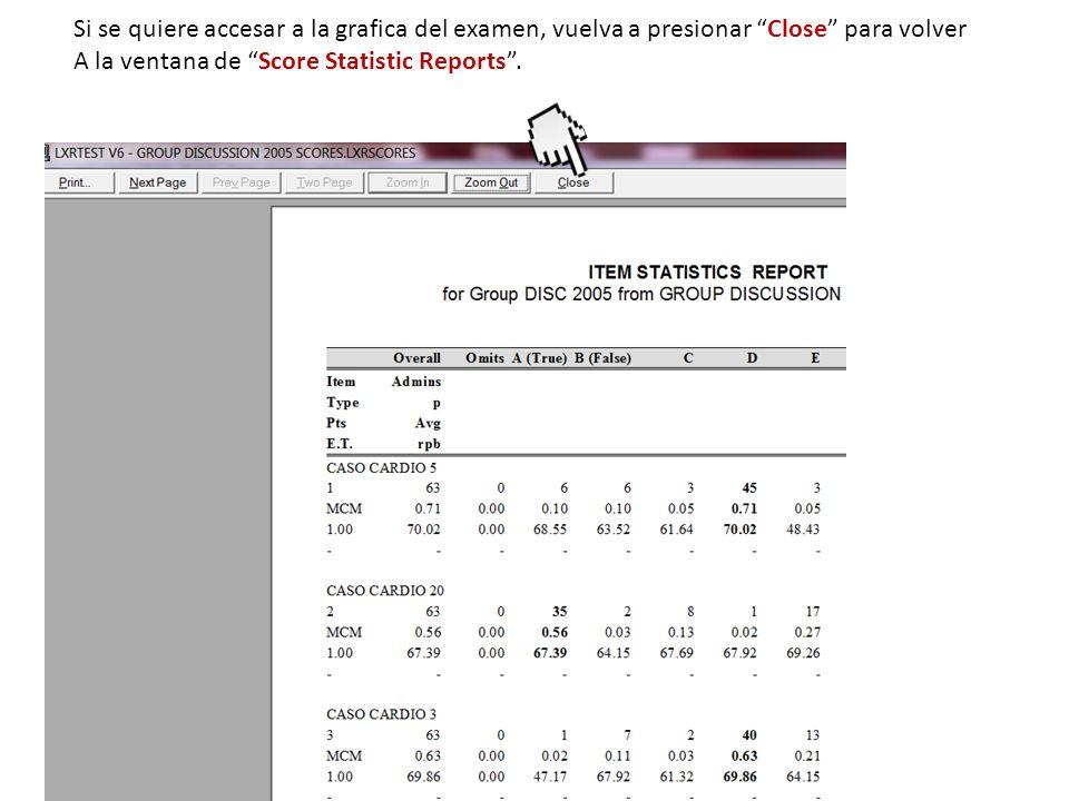 Si se quiere accesar a la grafica del examen, vuelva a presionar Close para volver A la ventana de Score Statistic Reports.