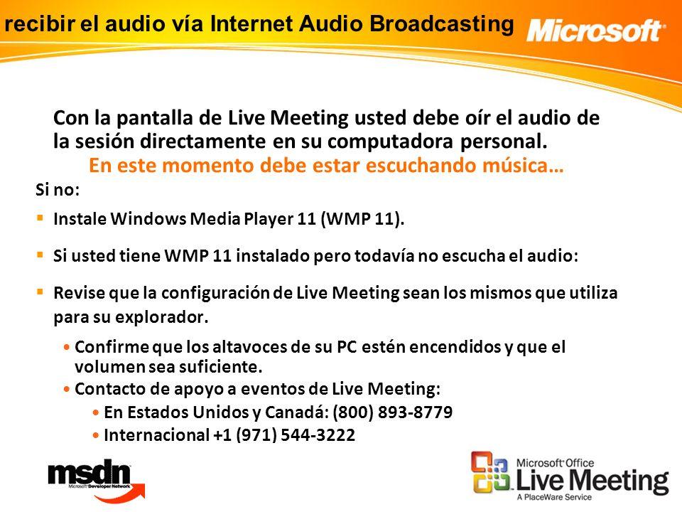 Con la pantalla de Live Meeting usted debe oír el audio de la sesión directamente en su computadora personal.
