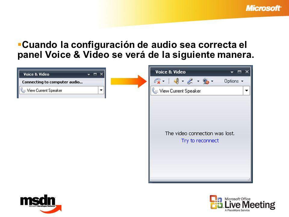Cuando la configuración de audio sea correcta el panel Voice & Video se verá de la siguiente manera.