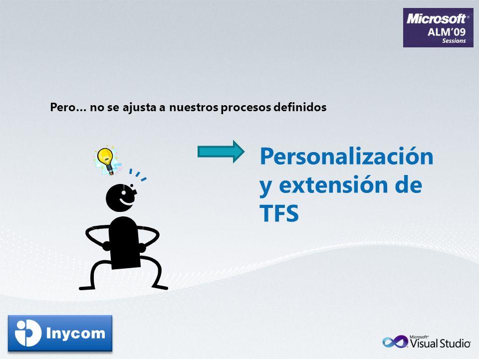 Pero… no se ajusta a nuestros procesos definidos Personalización y extensión de TFS