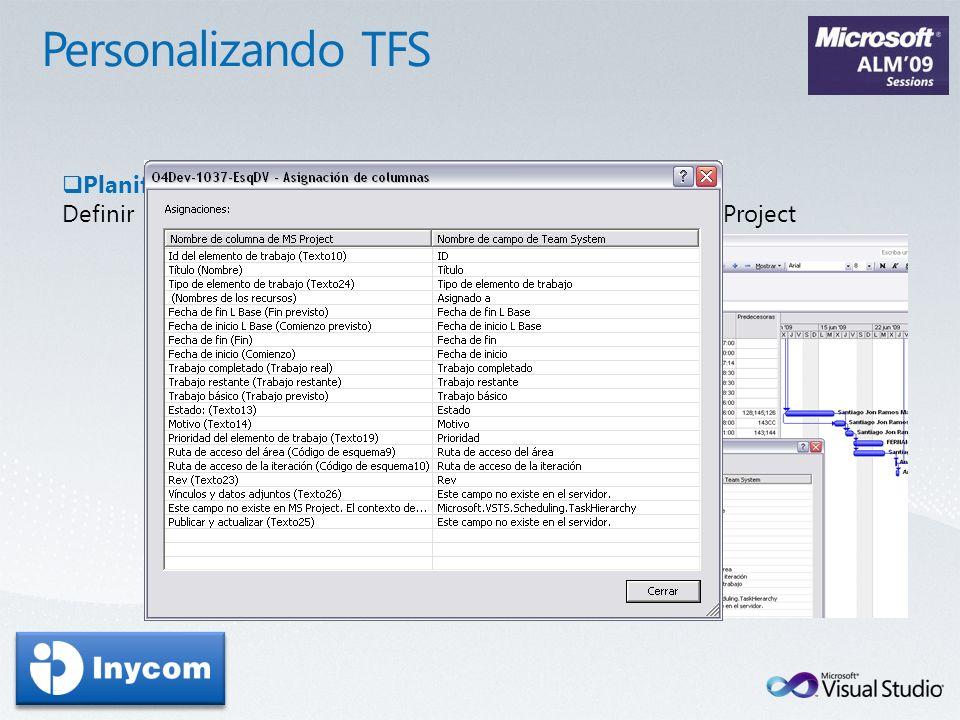 Planificación Definir la información que queremos intercambiar entre TFS y Project