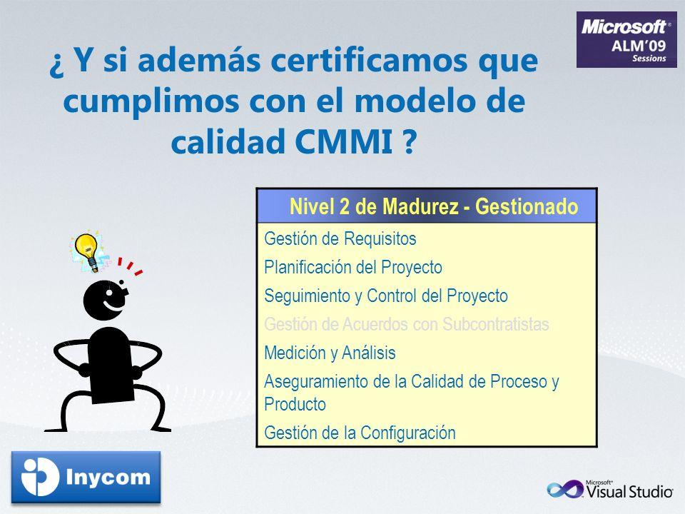 Nivel 2 de Madurez - Gestionado Gestión de Requisitos Planificación del Proyecto Seguimiento y Control del Proyecto Gestión de Acuerdos con Subcontrat