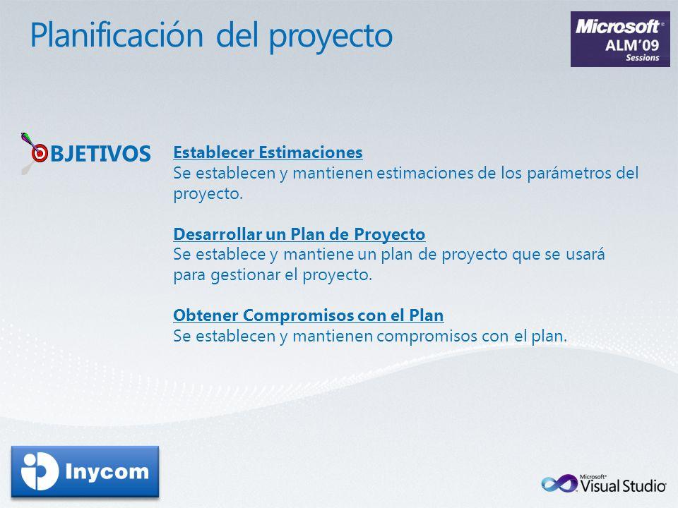Establecer Estimaciones Se establecen y mantienen estimaciones de los parámetros del proyecto. Desarrollar un Plan de Proyecto Se establece y mantiene