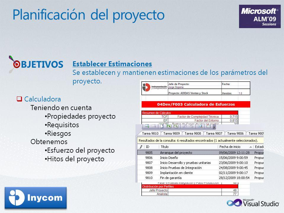 Establecer Estimaciones Se establecen y mantienen estimaciones de los parámetros del proyecto. BJETIVOS Calculadora Teniendo en cuenta Propiedades pro