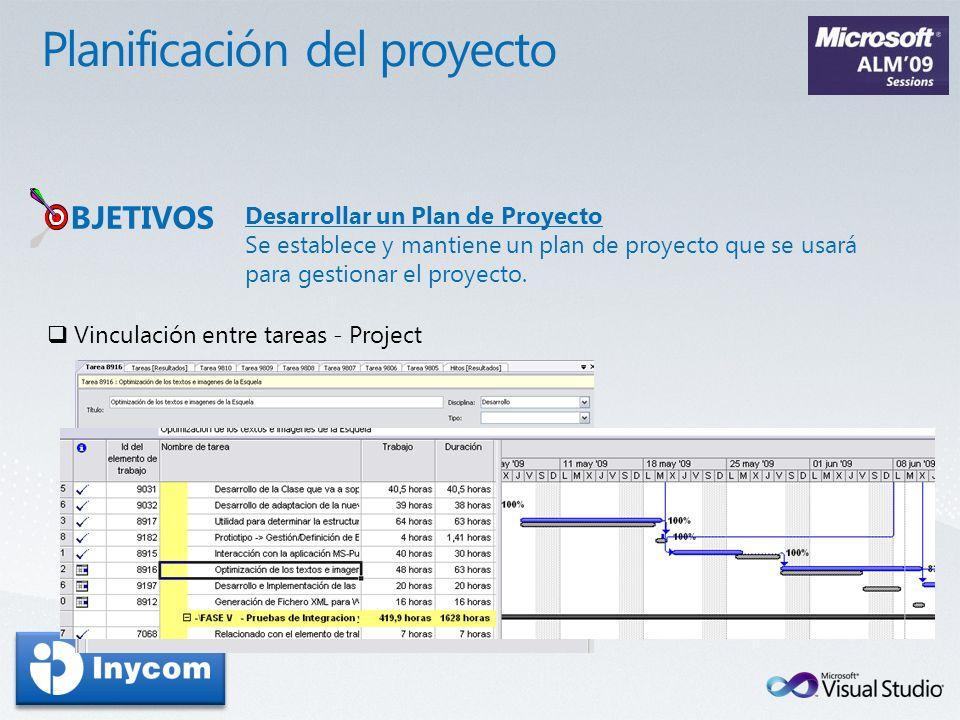 Desarrollar un Plan de Proyecto Se establece y mantiene un plan de proyecto que se usará para gestionar el proyecto. BJETIVOS Vinculación entre tareas