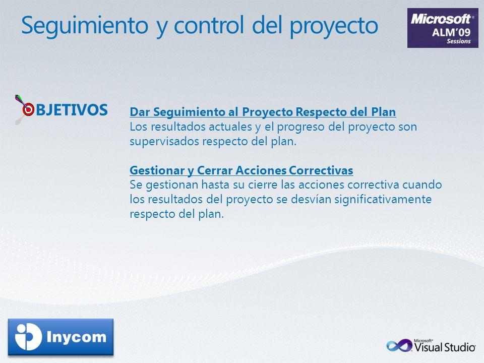 BJETIVOS Dar Seguimiento al Proyecto Respecto del Plan Los resultados actuales y el progreso del proyecto son supervisados respecto del plan. Gestiona