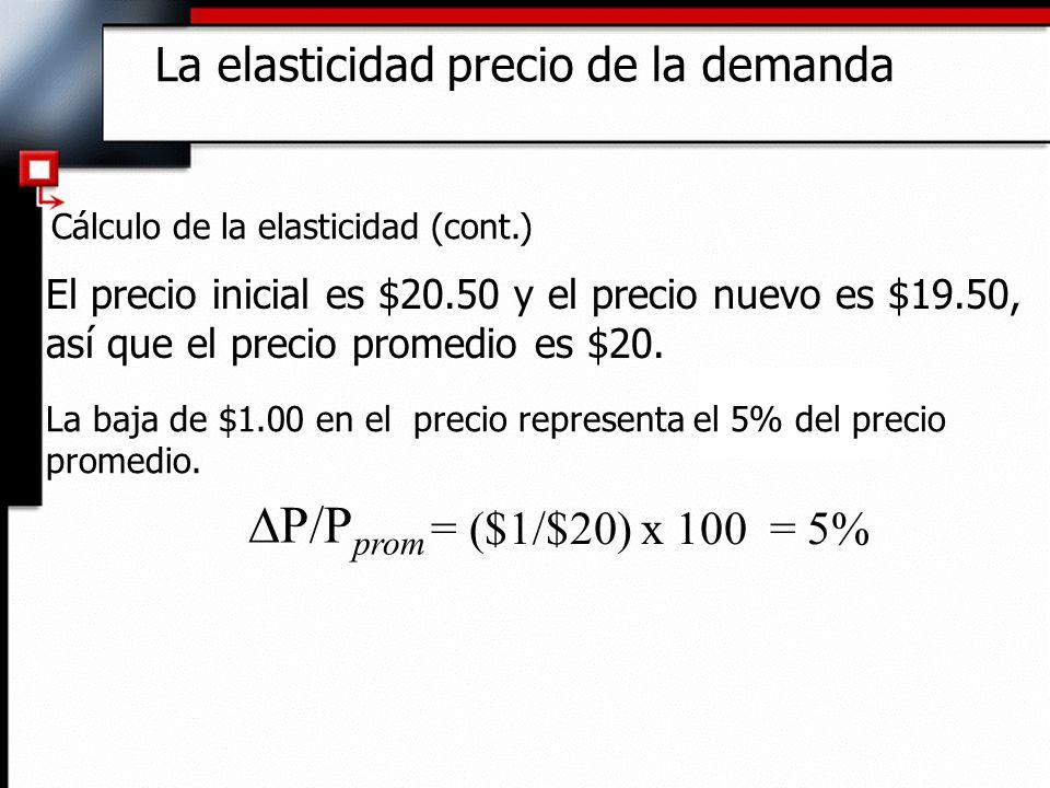 Cálculo de la elasticidad (cont.) El precio inicial es $20.50 y el precio nuevo es $19.50, así que el precio promedio es $20. La baja de $1.00 en el p