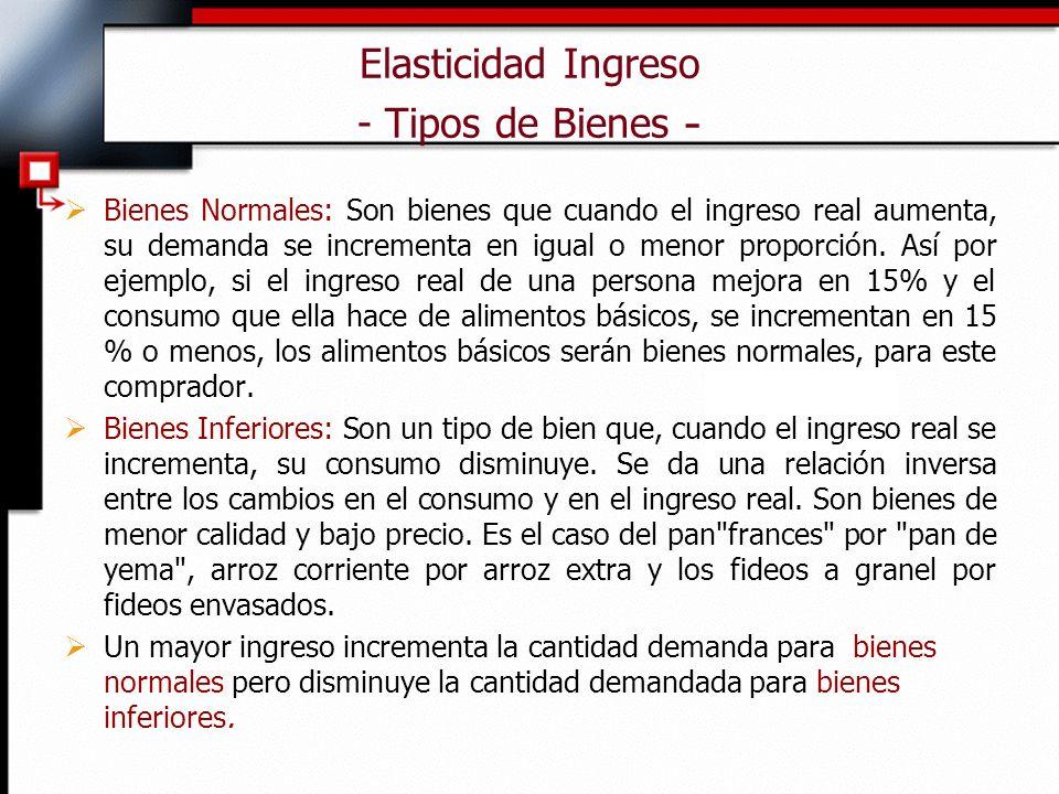 Elasticidad Ingreso - Tipos de Bienes - Bienes Normales: Son bienes que cuando el ingreso real aumenta, su demanda se incrementa en igual o menor proporción.