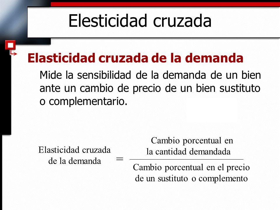 Elesticidad cruzada Elasticidad cruzada de la demanda Mide la sensibilidad de la demanda de un bien ante un cambio de precio de un bien sustituto o co