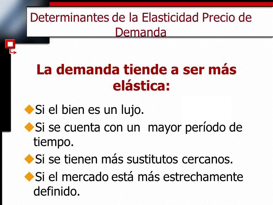 Determinantes de la Elasticidad Precio de Demanda La demanda tiende a ser más elástica: uSi el bien es un lujo.