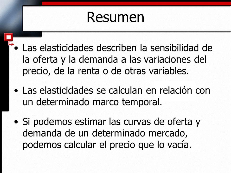 Resumen Las elasticidades describen la sensibilidad de la oferta y la demanda a las variaciones del precio, de la renta o de otras variables. Las elas