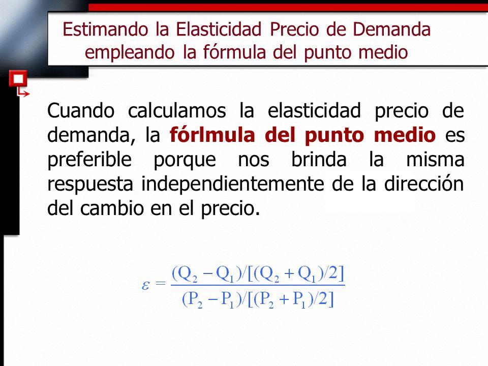 Estimando la Elasticidad Precio de Demanda empleando la fórmula del punto medio Cuando calculamos la elasticidad precio de demanda, la fórlmula del punto medio es preferible porque nos brinda la misma respuesta independientemente de la dirección del cambio en el precio.
