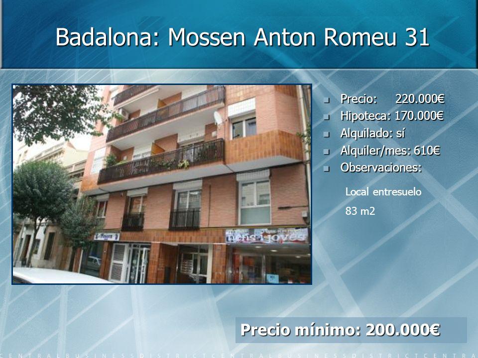 Badalona: Mossen Anton Romeu 31 Precio: Precio: 220.000 Hipoteca: Hipoteca: 170.000 Alquilado: Alquilado: sí Alquiler/mes: Alquiler/mes: 610 Observaciones: Observaciones: Local entresuelo 83 m2 Precio mínimo: 200.000