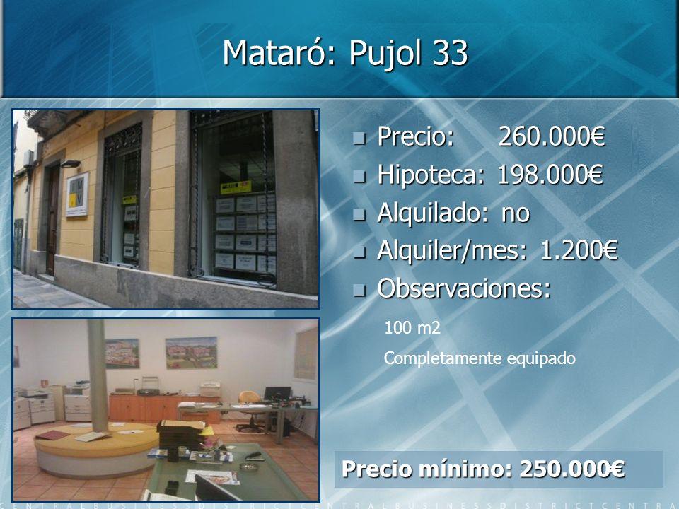 Mataró: Pujol 33 Precio: Precio: 260.000 Hipoteca: Hipoteca: 198.000 Alquilado: Alquilado: no Alquiler/mes: Alquiler/mes: 1.200 Observaciones: Observaciones: 100 m2 Completamente equipado Precio mínimo: 250.000