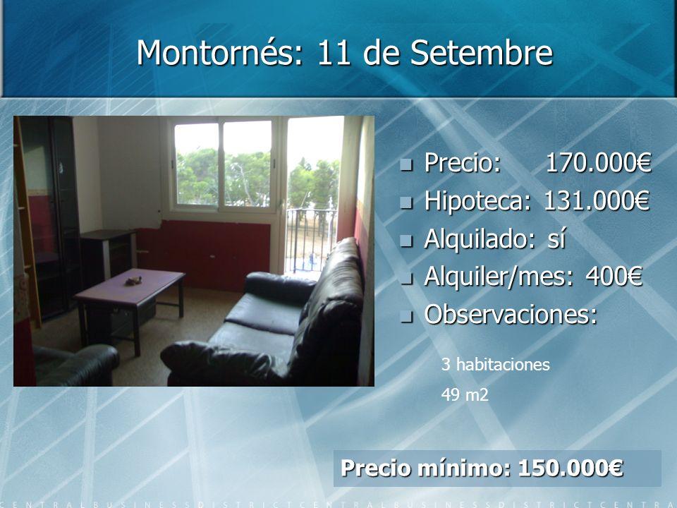 Montornés: 11 de Setembre Precio: Precio: 170.000 Hipoteca: Hipoteca: 131.000 Alquilado: Alquilado: sí Alquiler/mes: Alquiler/mes: 400 Observaciones: Observaciones: 3 habitaciones 49 m2 Precio mínimo: 150.000