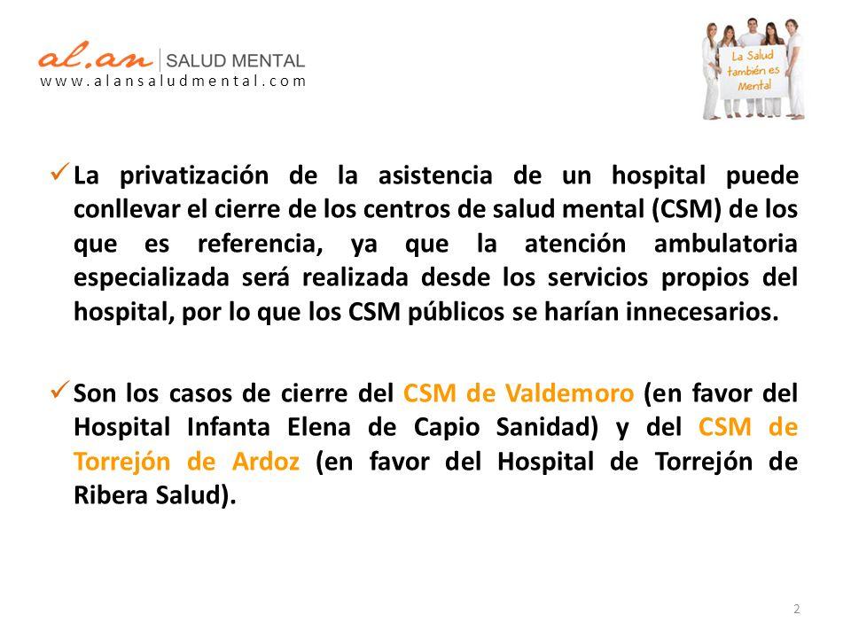 La privatización de la asistencia de un hospital puede conllevar el cierre de los centros de salud mental (CSM) de los que es referencia, ya que la atención ambulatoria especializada será realizada desde los servicios propios del hospital, por lo que los CSM públicos se harían innecesarios.