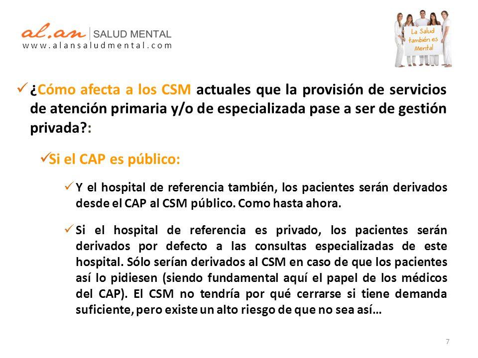 ¿Cómo afecta a los CSM actuales que la provisión de servicios de atención primaria y/o de especializada pase a ser de gestión privada : Si el CAP es público: Y el hospital de referencia también, los pacientes serán derivados desde el CAP al CSM público.