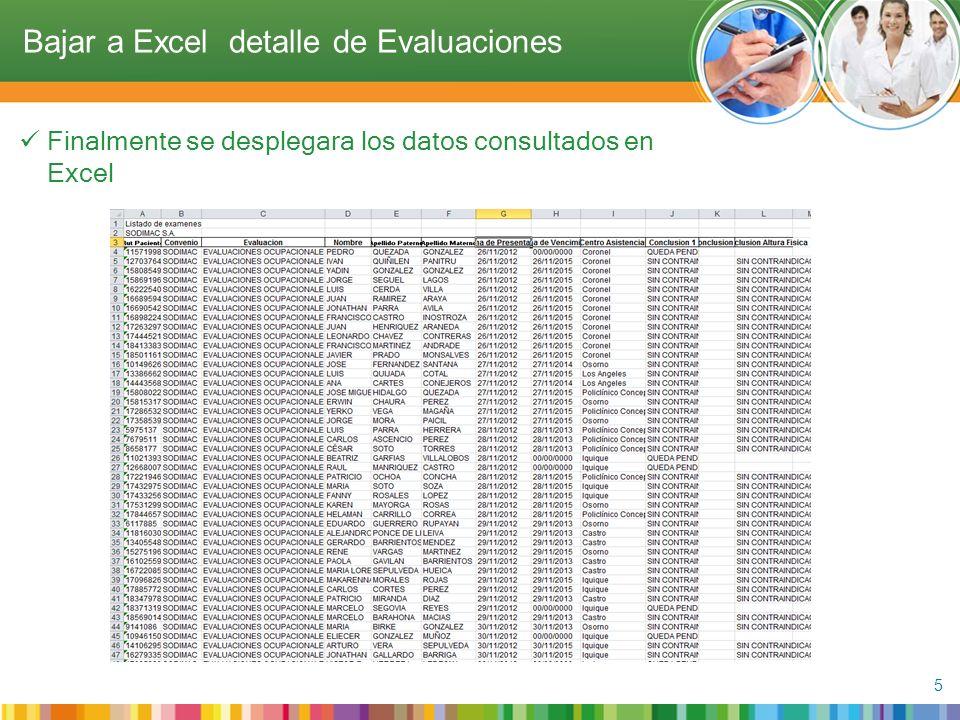 Finalmente se desplegara los datos consultados en Excel 5