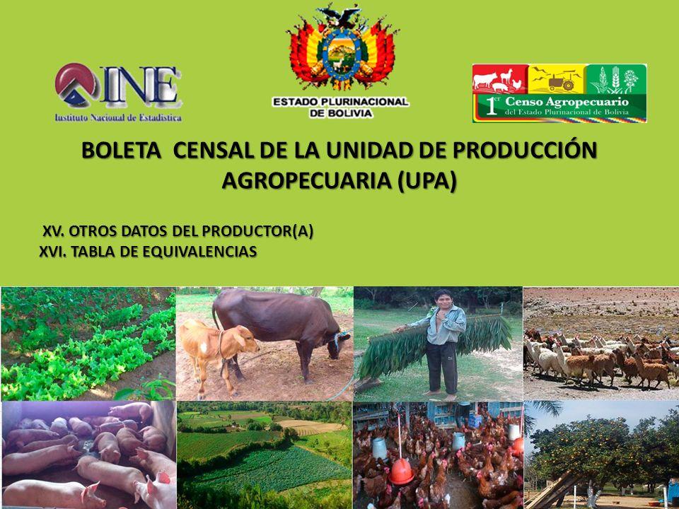 BOLETA CENSAL DE LA UNIDAD DE PRODUCCIÓN AGROPECUARIA (UPA) XV. OTROS DATOS DEL PRODUCTOR(A) XVI. TABLA DE EQUIVALENCIAS XV. OTROS DATOS DEL PRODUCTOR