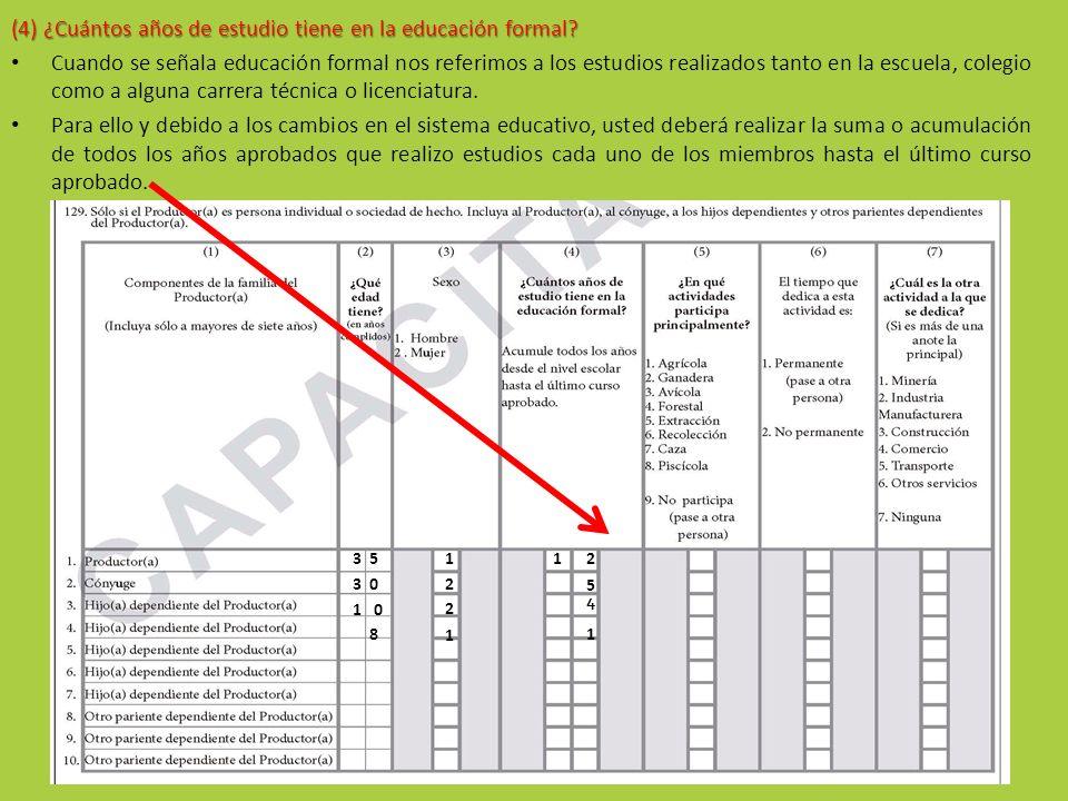 (4) ¿Cuántos años de estudio tiene en la educación formal? Cuando se señala educación formal nos referimos a los estudios realizados tanto en la escue